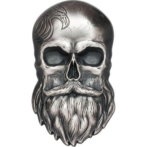 Biker Skull 1 oz Antique finish Silver Coin 5$ Palau 2019