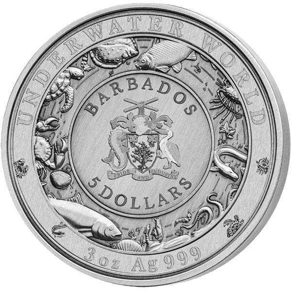 Great White Shark 3 oz Antigue finish Silver Coin 5$ Barbados 2018