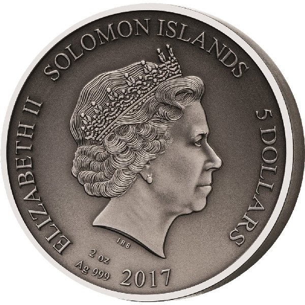 Hoplomachus The Gladiators 2 oz Antigue finish Silver Coin 5$ Solomon Islands 2017