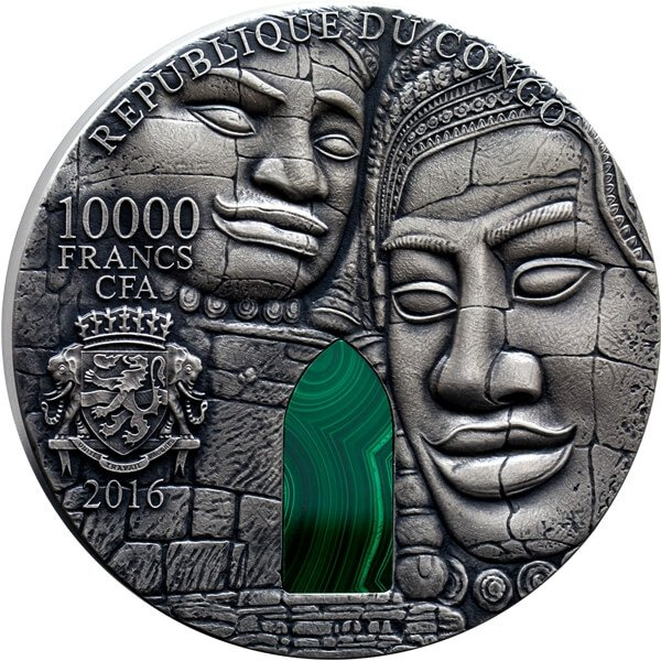 Angkor Wat Masterpieces in Stone 1 kilo Antique finish Silver Coin 10000 Francs Congo 2016