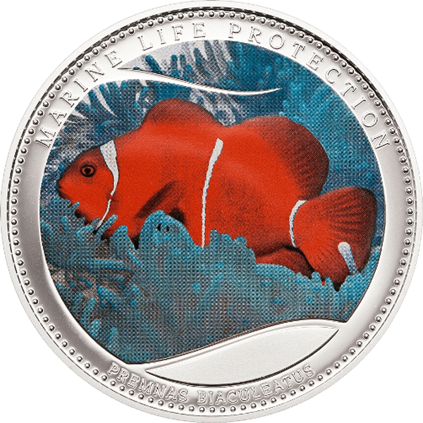 Anemonefish. Marine Life Protection Proof Silver Coin 5$ Palau 2011