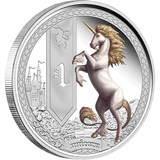 Tuvalu 2013 1$ Unicorn Mythical Creatures Proof Silver Coin