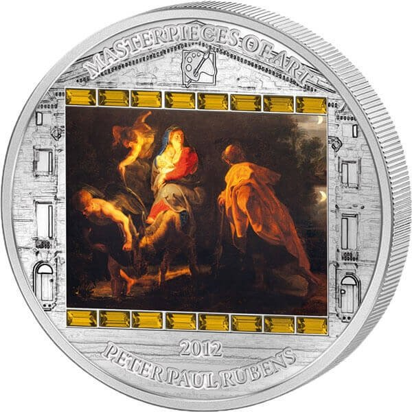 """Cook Islands 2012 20$ """"Flight Into Egypt"""" Peter Paul Rubens Masterpieces of Art 3 Oz Proof Silver Coin"""
