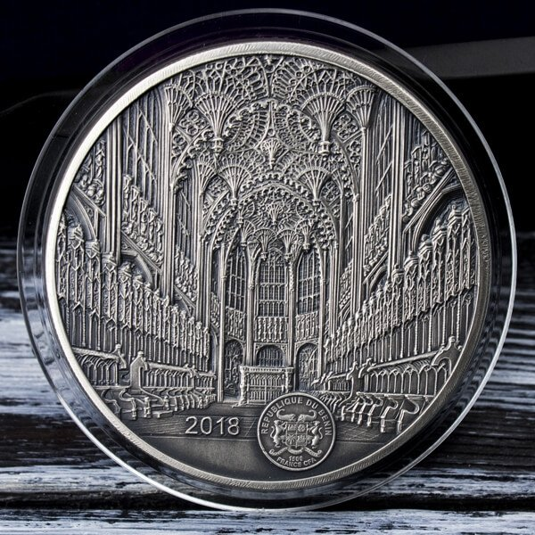 Westminster Abbey Infinity Minting 100g Antique finish Silver Coin 1500 Francs Benin 2018