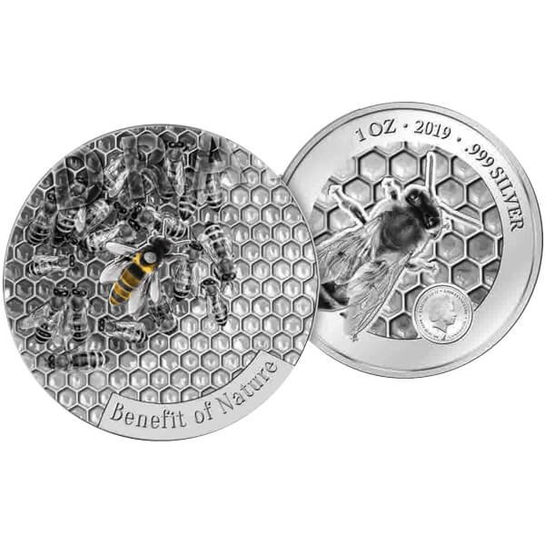 Honey Bee Benefit of Nature 1 oz Proof -like Silver Coin 1000 Francs CFA Cameroon 2019