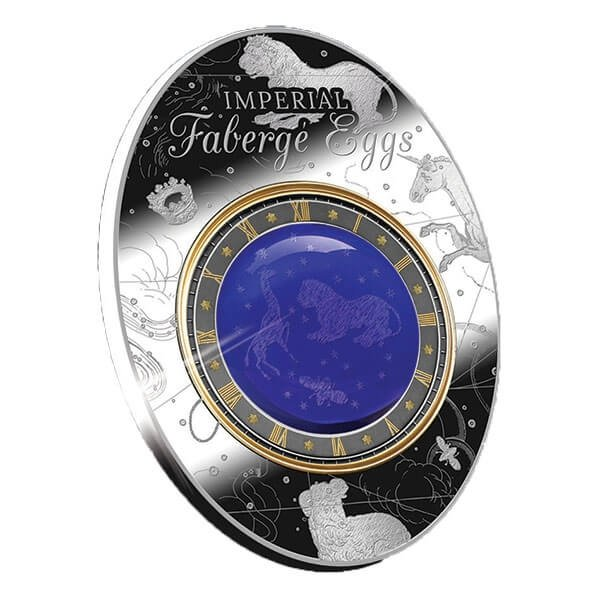 Blue Tsarevich Constellatoin Egg Imperial Faberge Eggs 56.56g Proof Silver Coin 2$ Niue 2018