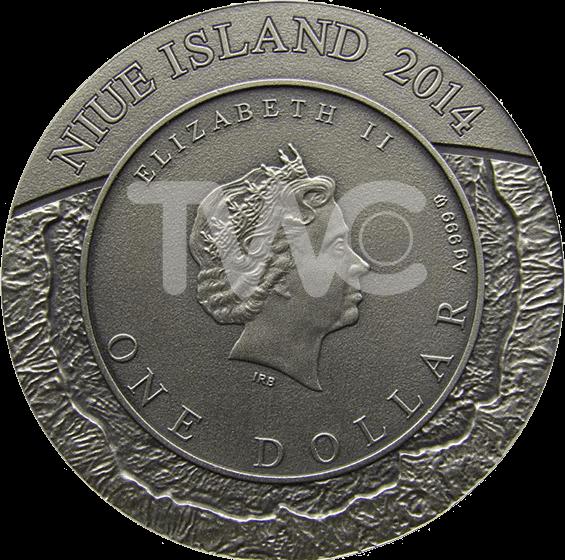 Niue 2014 1$  Canyon Diablo Meteorite  Antique finish Silver Coin