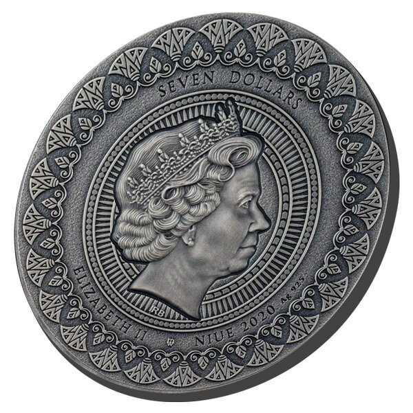 Nefertiti The Most Famous Queen of Antiquity 3 oz Antique finish Silver Coin 7$ Niue 2020