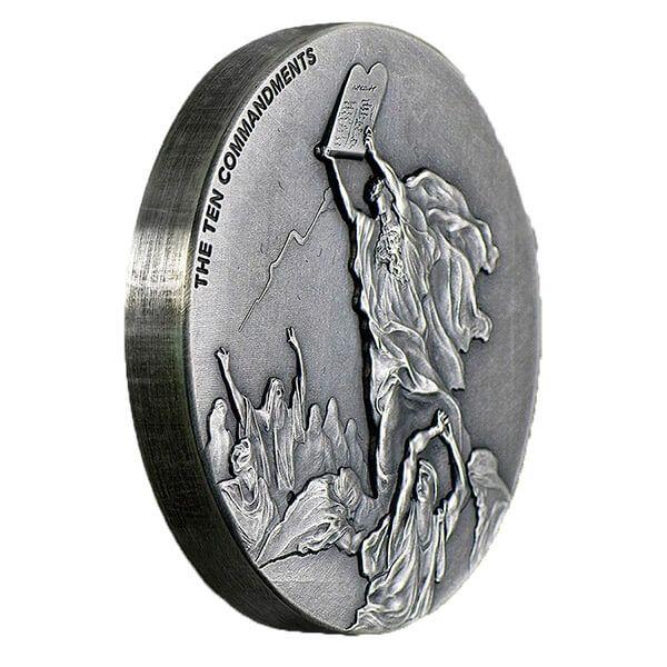 Biblical Coin  Ten Commandments 2 oz BU Silver Coin 2$ Niue 2015