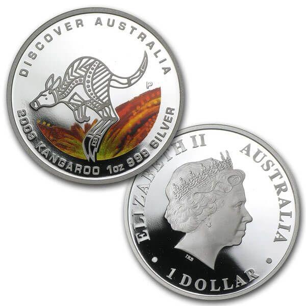 Discover Australia  - Kangaroo Proof Silver Coin 1$ Australia 2009