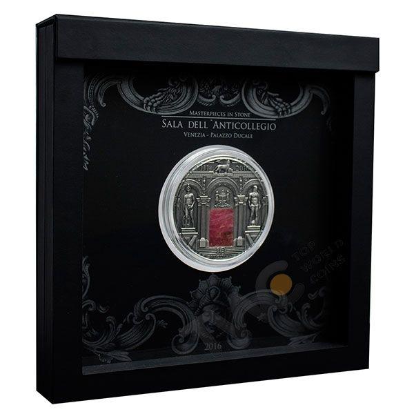 Sala dell'Anticollegio Palazzo Ducale Masterpieces in Stone 3 oz Antique finish Silver Coin 10$ Fiji 2016