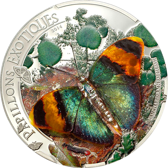 Central African Republic 2014 1000 Francs CFA Euphaedra neoph Butterfly Papillons Exotiques  3D -  Proof Silver Coin