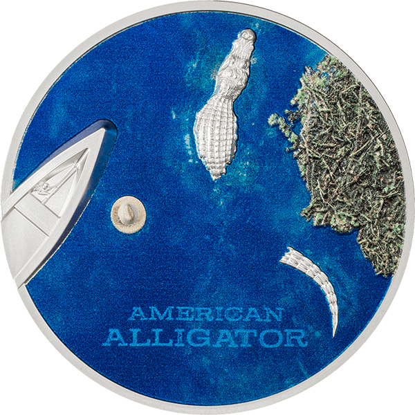 American Alligator Side View 1oz  Proof Silver Coin 5$ Palau 2022
