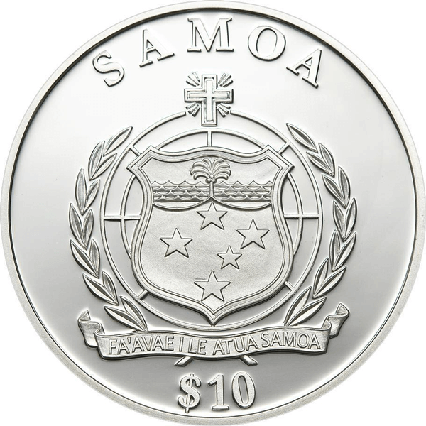 Samoa 2013 10$ Year of the Snake Antique finish Silver Coin