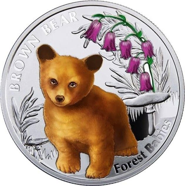 Brown Bear Forest Babies  Proof Silver Coin 1$ Niue 2014