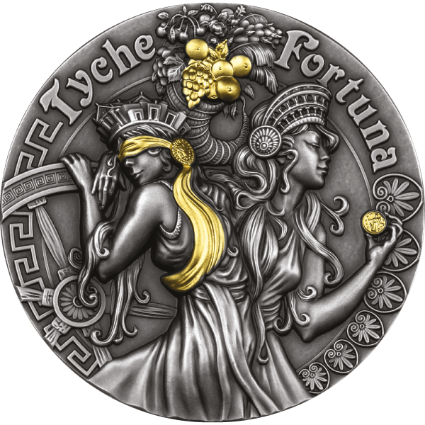 Fortune and Tyche Goddesses 2 oz Antique finish Silver Coin 5$ Niue 2021