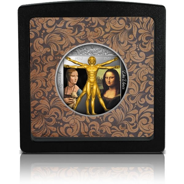 Genius of the Renaissance - Leonardo Da Vinci 1 oz Antique finish Silver Coin 2$ Niue 2019