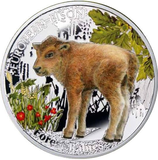European Bison  Forest Babies  Proof Silver Coin 1$  Niue 2014
