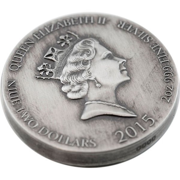 Niue 2015 2$ ODIN  Vikings Gods Kings Warriors  2oz Antique finish Silver Coin