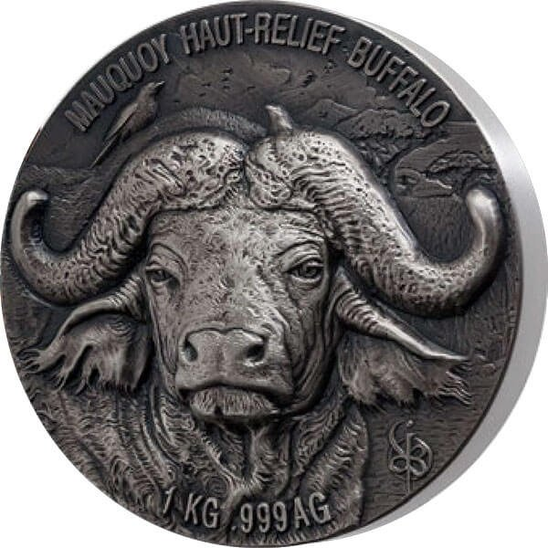 Mauquoy Haut Relief Water Buffalo Big five 1 Kilo Antique finish Silver Coin 10000 francs Ivory Coast 2021