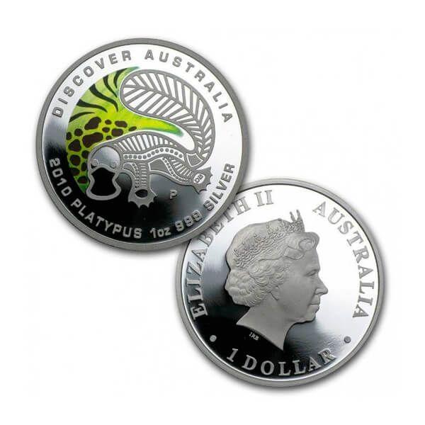 Discover Australia - Platypus Colored Proof Silver Coin 1$ Australia 2010