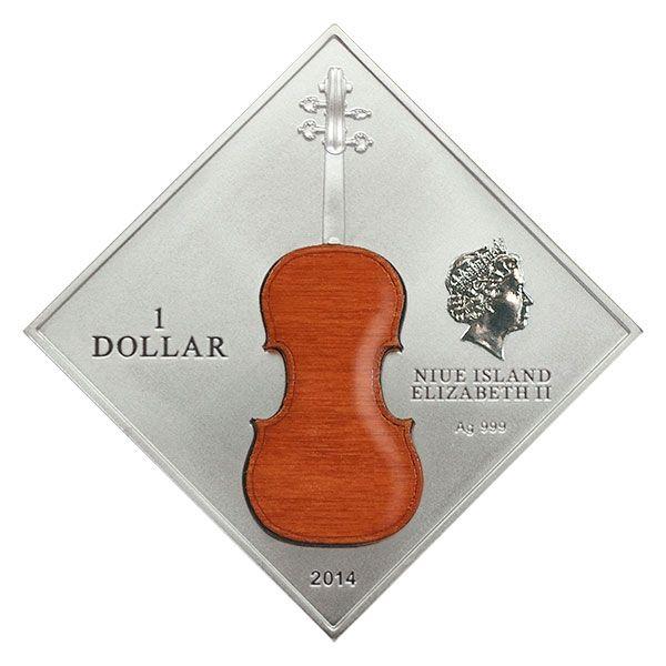 """Niue 2014 1$  Antonio Stradivarius violin """"LADY BLUNT""""  Proof Silver Coin with Wood Inlay"""