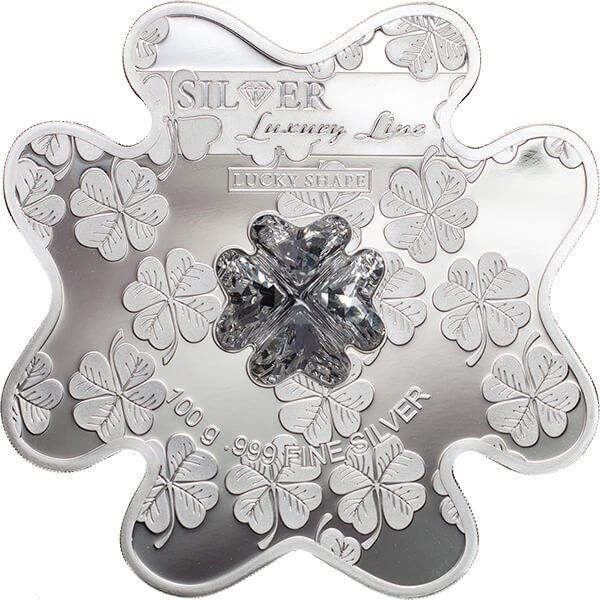 Cook Islands 2016 20$ Lucky Shape Four-Leaf Clover Silver Luxury Line 100 g Proof Silver Coin