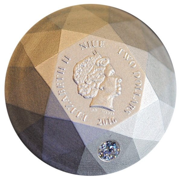 Niue 2016 2$ Silver Diamond 3D Shape Antique Finish Silver Coin