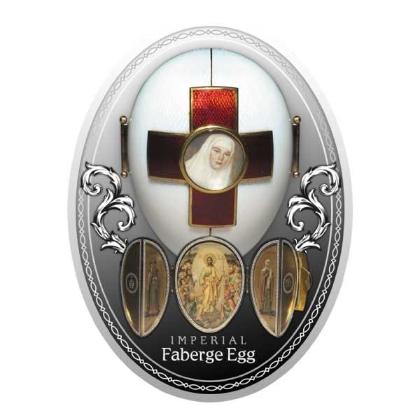 Red Cross Egg Imperial Faberge Eggs Proof Silver Coin 1$ Niue 2020