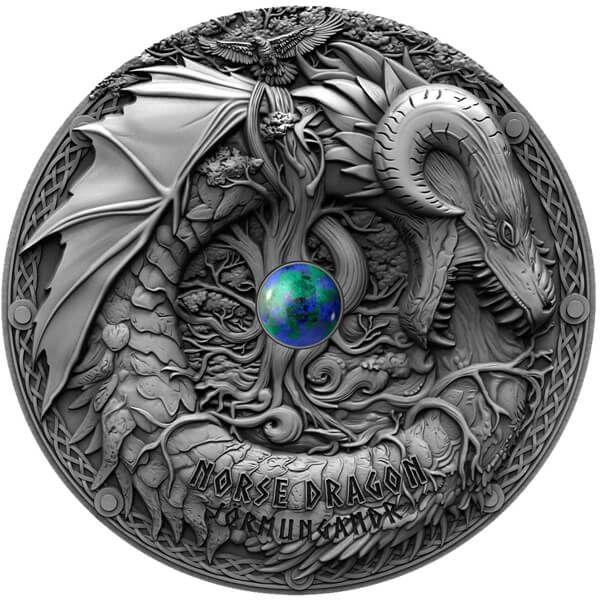 Norse Dragon Dragons 2 oz Antique Finish Silver Coin 2$ Niue 2019