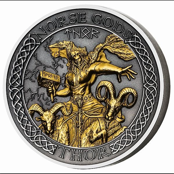 Thor The Norse Gods 2 oz Antique finish Silver Coin 10$ Cook Islands 2020