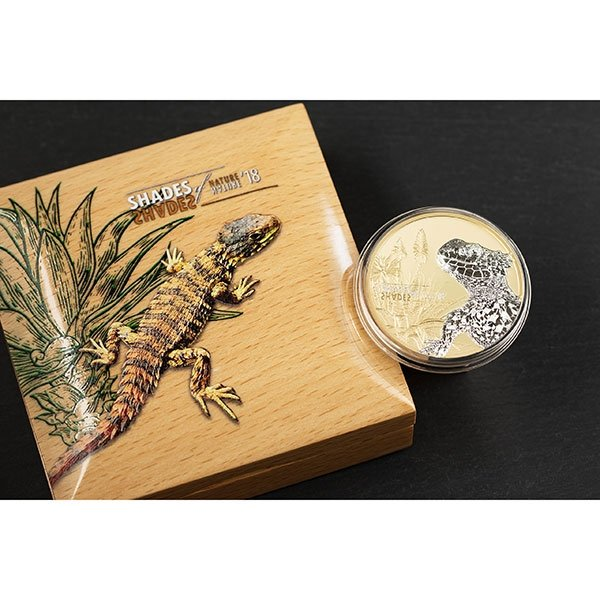 Sungazer Lizard Shades of Nature Proof Silver Coin 5$ Cook Islands 2018
