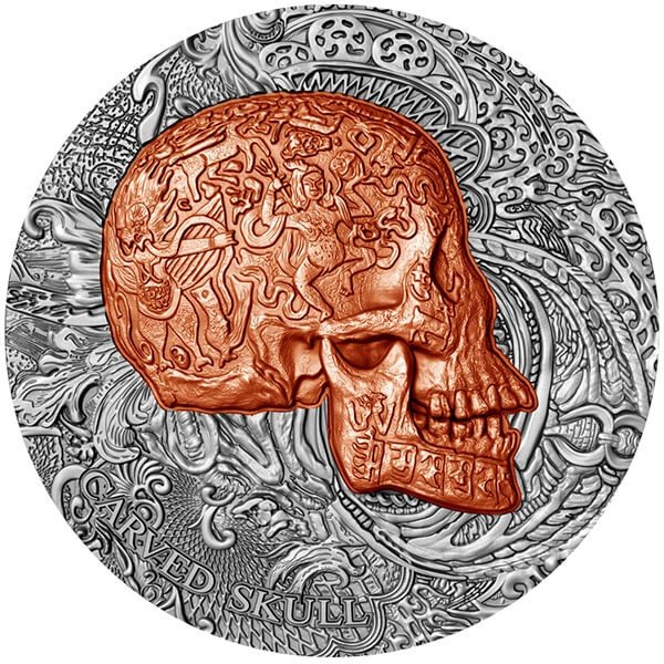 Carved Skull 1 oz Antique finish Copper plated Silver Coin 1000 Francs Cameroon 2017