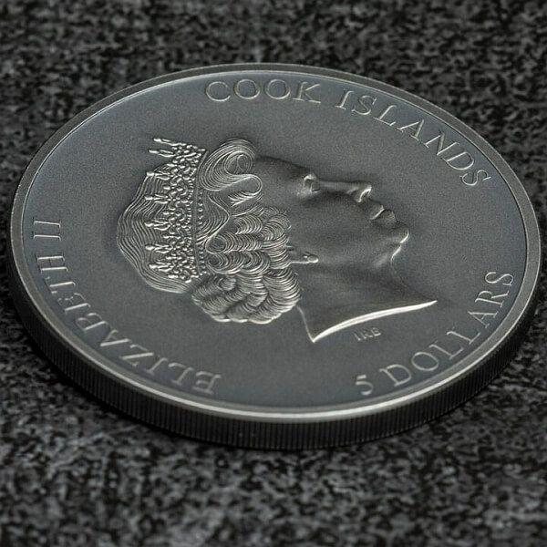 Trap Attack 1 oz Antique finish Silver Coin 5$ Cook Islands 2021