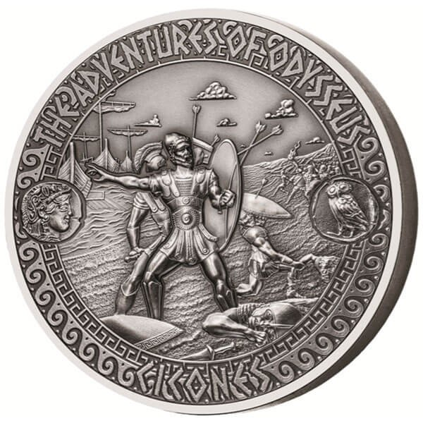 Attack of the Cicones The Adventures of Odysseus 2 oz Antigue finish Silver Coin 5$ Solomon Islands 2018