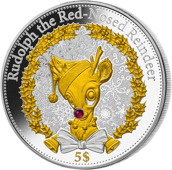 Kiribati 2015 5$ Christmas - Rudolph the Rednosed Reindeer Proof Silver Coin
