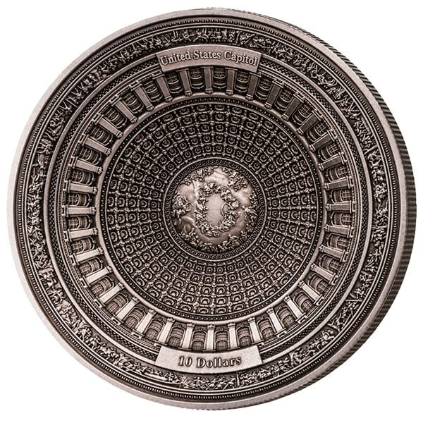 Samoa 2017 10$ 4 Layer Coin United States Capitol 100g Antique Finish Silver Coin