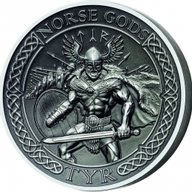Cook Islands 2015 10$ The Norse Gods - Tyr Antique finish Silver Coin