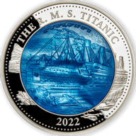 RMS TITANIC  Mother of Pearl 5oz Proof Silver  Coin 25$ Solomon Islands 2022