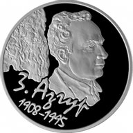 Belarus 2008 10 rubles Zair Azgur. 100 years Proof Silver Coin
