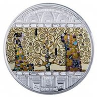 """Klimt """"Tree of Life"""" Masterpieces of Art 93,4g Proof Silver Coin Cook Islands 2018 20$"""
