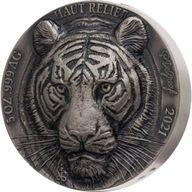 Tiger Big Five Asia 5 oz Antique finish Silver Coin 5000 francs Ivory Coast 2021