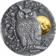 Long-Eared Owl Wildlife in the Moonlight 2 oz Antique finish Silver Coin 5$ Niue 2019