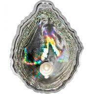 Pearl Oyster Shells of the Sea Hologram Convex. Sea Treasures Proof Silver Coin 5$ Palau 2011