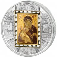 "Cook Islands 2013 20$ ""Virgin of Vladimir"" Masterpieces of Art 3 Oz Proof Silver & Gold Coin"