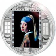 """Cook Islands 2014 20$ """"Girl with a Pearl Earring"""" Vermeer  Masterpieces of Art 3 oz Proof Silver Coin"""