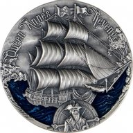 Queen Anne's Revenge Golden Age of Sail 2 oz Antique finish Silver Coin 2000 Francs CFA Cameroon 2019