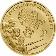 Centenary of World War I 1/100 oz Proof-like Gold Coin 5$ Cook Islands 2018