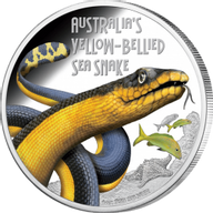 Tuvalu 2013 1$ Yellow-bellied sea snake Deadly and Dangerous Proof Silver Coin