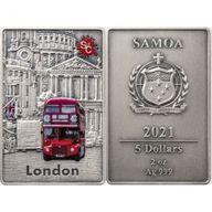 London Splash Of Colour  2 oz Antique Finish Silver Coin 5$ Samoa 2021